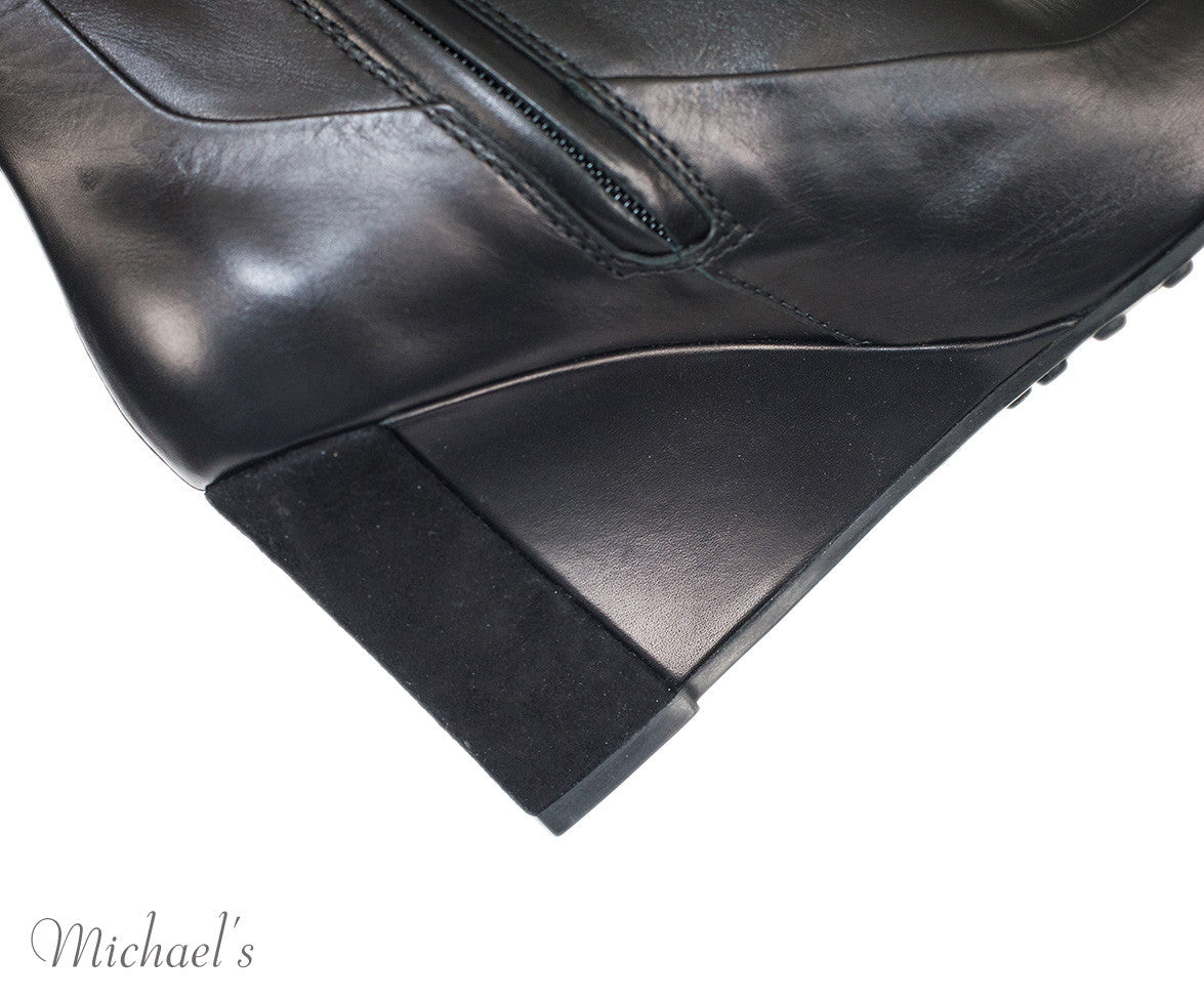 Tod's Black Leather Boots w/ Wedge Sz 35.5 - Michael's Consignment NYC  - 6