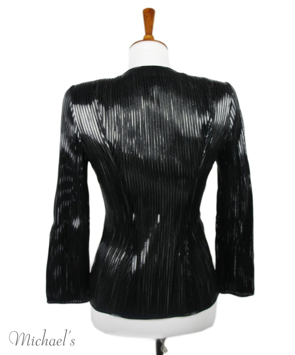 Tom Ford Black Patent Leather Mesh Jacket Sz 0