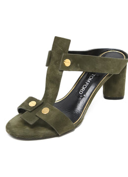 Tom Ford Olive Green Suede Heels 1