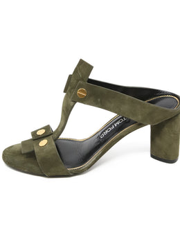 Tom Ford Olive Green Suede Heels 2