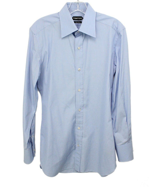 Tom Ford Mens Blue Button Down