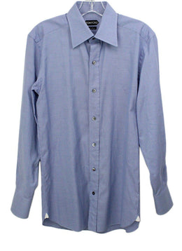 Tom Ford Mens Blue Button Down Top