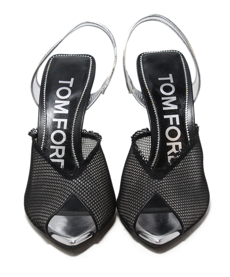 Tom Ford black mesh silver trim heels 4