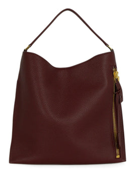 Tom Ford Red Burgundy Leather Zipper Shoulder Bag Handbag 1