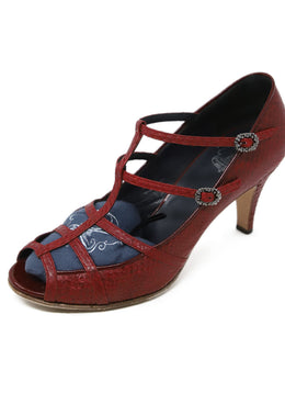 Toraide Red Snakeskin Leather Stiletto Sandals 1