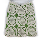 Tory Burch Green Beige Cotton Crochet Skirt 1