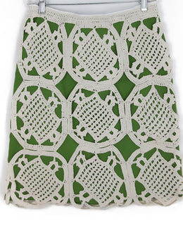 Tory Burch Green Beige Cotton Crochet Skirt 2