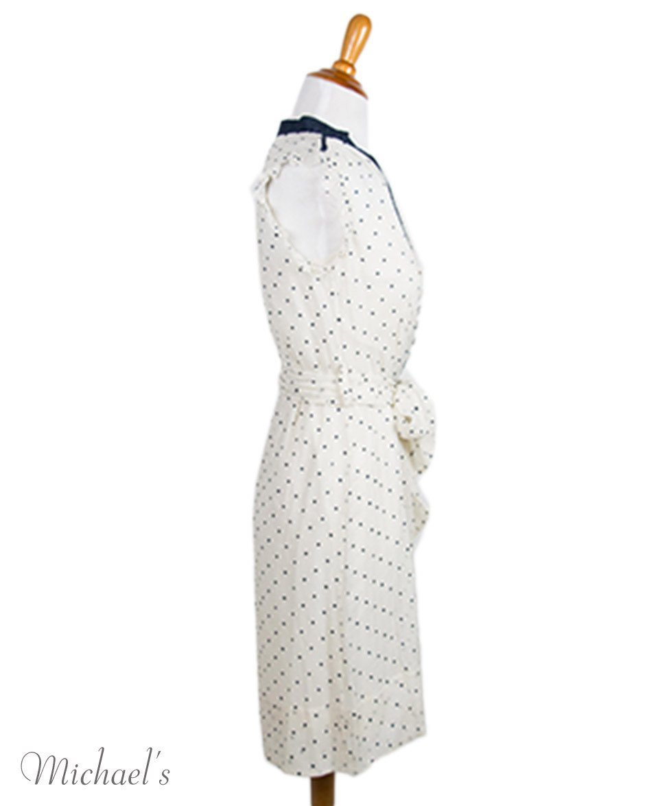 Tory Burch Size 0 Ivory Navy Polka Dot Silk W/Slip W/Belt Dress