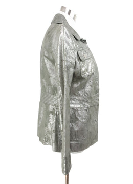Tory Burch Metallic Pewter Leather Jacket 2