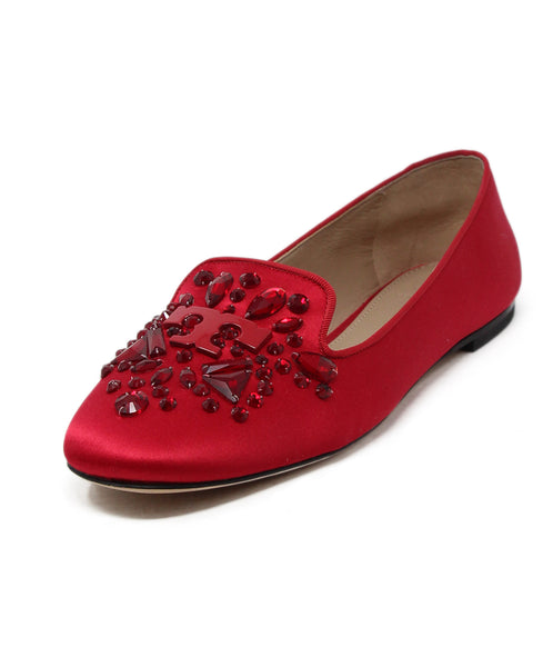 Tory Burch Red Satin Jeweled Flats 1