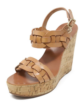 Tory Burch Tan Braided Leather Cork Wedges
