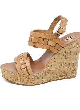 Tory Burch Tan Braided Leather Cork Wedges 1