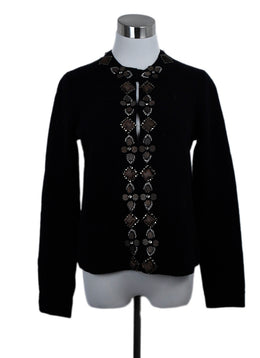 Tory Burch Black Wool Wood Beaded Trim Cardigan Sweater 1