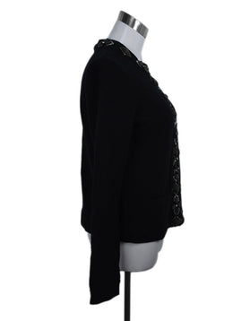 Tory Burch Black Wool Wood Beaded Trim Cardigan Sweater 2