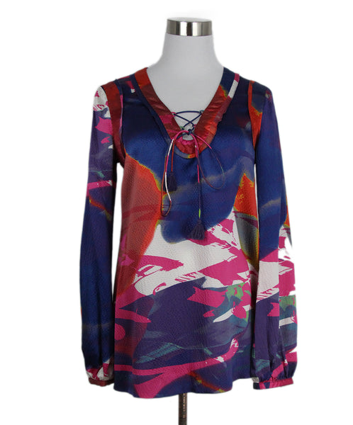 Tory Burch Blue Red Pink Silk Blouse Top 1