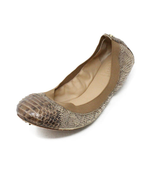 Tory Burch Brown Snake Skin Elastic Shoes 1