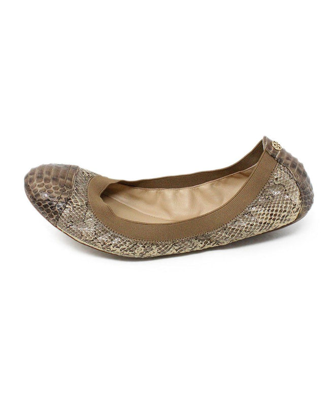 Tory Burch Brown Snake Skin Elastic Shoes 2