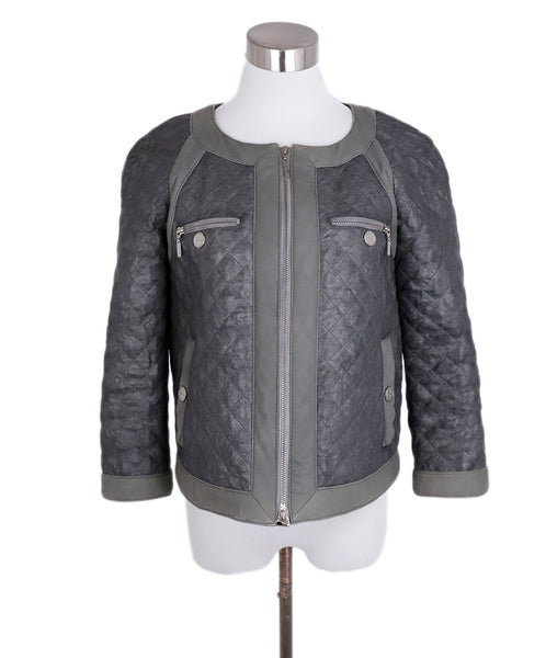 Tory Burch Grey Leather Quilted Suede Trim Jacket 1