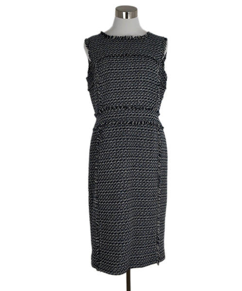 Tory Burch Navy Grey Cotton Tweed Dress 1