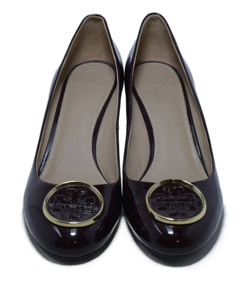 Tory Burch Burgundy Patent Leather Wedges 4