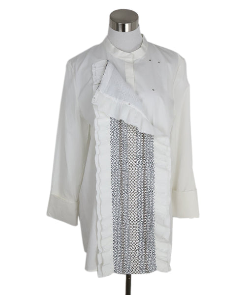 Tory Burch White Cotton Ruffle Shirt 2