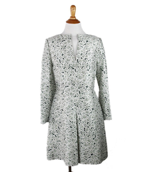 Tory Burch White Green Floral Dress Sz 4