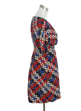 Turk Blue Red Silk White Print Dress 2