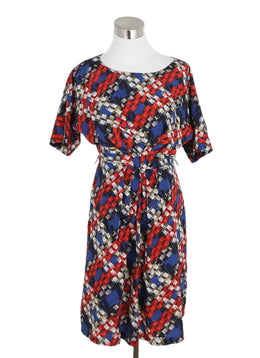 Turk Blue Red Silk White Print Dress 1