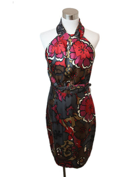 Turk Red Floral Print Silk Dress 1