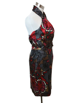 Turk Red Floral Print Silk Dress 2