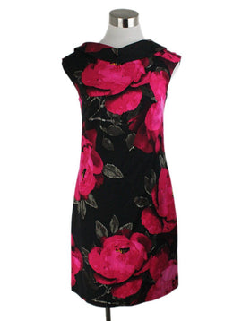 Turk Black Fuchsia Floral Rayon Cotton Dress 1
