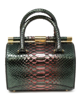 Tyler Ellis Metallic Green Python Skin Handbag