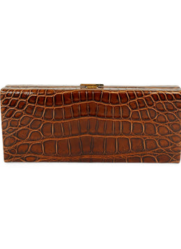 VBH Brown Crocodile Clutch Handbag 1