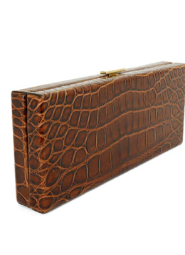 VBH Brown Crocodile Clutch Handbag 2
