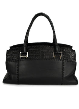 VBH Black Leather Skin Trim Satchel Handbag 1