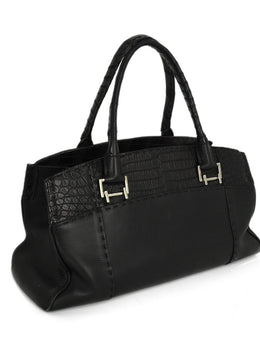 VBH Black Leather Skin Trim Satchel Handbag 2