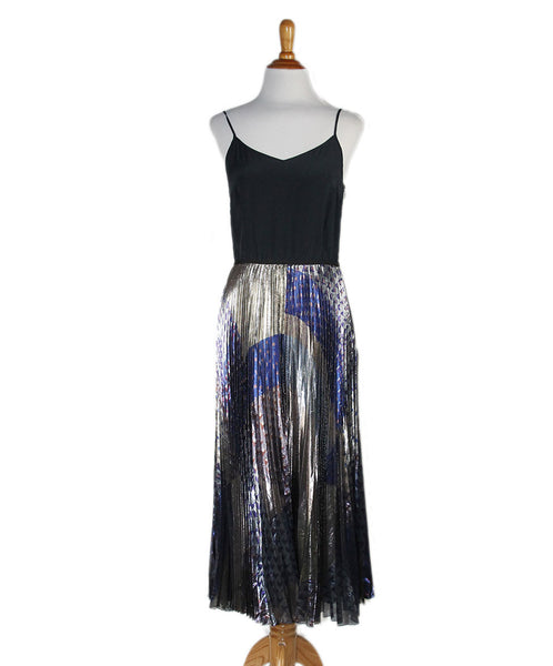 V. Beckham Black Metallic Silk Grey Gold Pleated Dress Sz 4