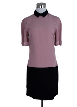 V. Beckham Pink Mauve Black Acetate Viscose Dress 1