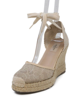Valentino Tan Lace Espadrilles Wedges