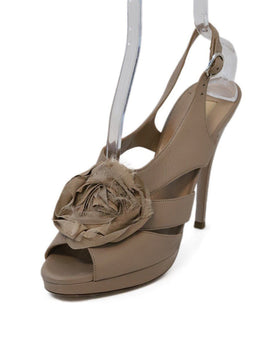 Valentino Beige Leather Silk Heels
