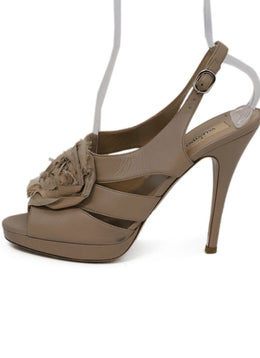 Valentino Beige Leather Silk Heels 1