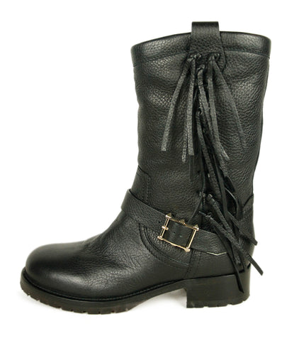 Valentino Black Leather Fringe Boots 1
