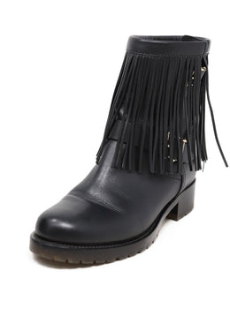 Valentino Black Leather Fringe Detail Boots