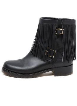 Valentino Black Leather Fringe Detail Boots 1