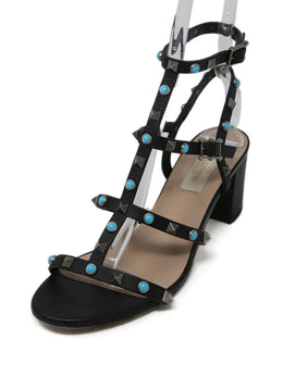 Valentino Black Leather Turquoise Sandals 1