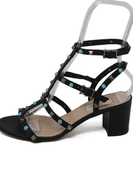 Valentino Black Leather Turquoise Sandals 2