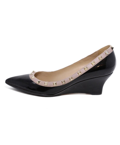 Valentino Black Leather Studs Wedge Shoes 1