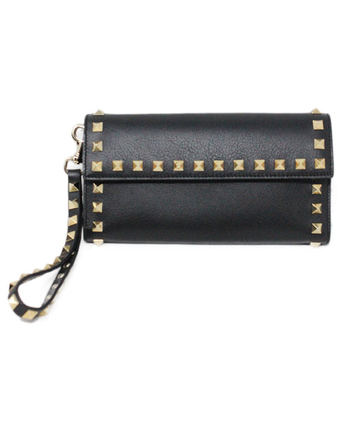 Valentino Black Leather Wristlet with Gold Studs 1
