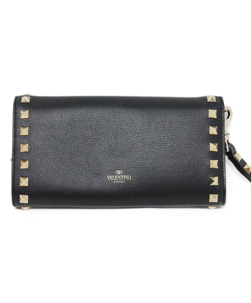 Valentino Black Leather Wristlet with Gold Studs 2