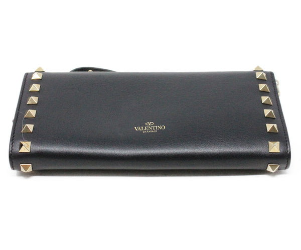 Valentino Black Leather Wristlet with Gold Studs 4